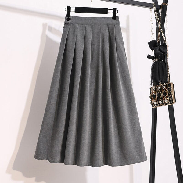 2020 Winter Plus Size Midi Pleated Skirts Women Preppy Style Skirts