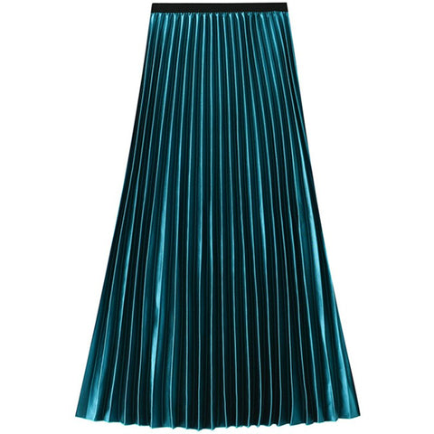 Neophil High Waist Pleated Sequined Women Summer Skirts Velvet Vintage Shining Ankle Length Big Hem Fashion A-Line Skirts S9212