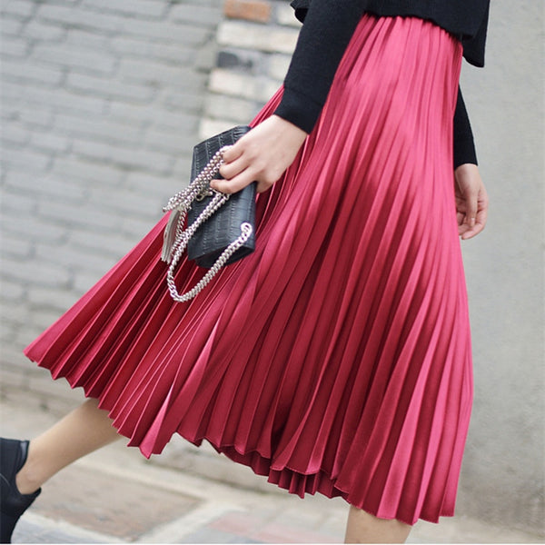 Pleated Women's Midi Skirts Sequined 2020  Casual Style Fashion Lady Solid Basic Skirt