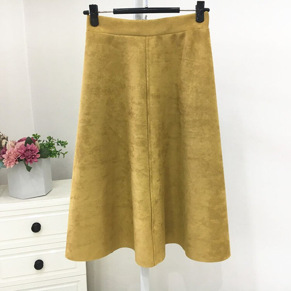 Women Suede High Waist Midi Summer Vintage Style Elastic Ladies A Line Flare Fashion Skirt