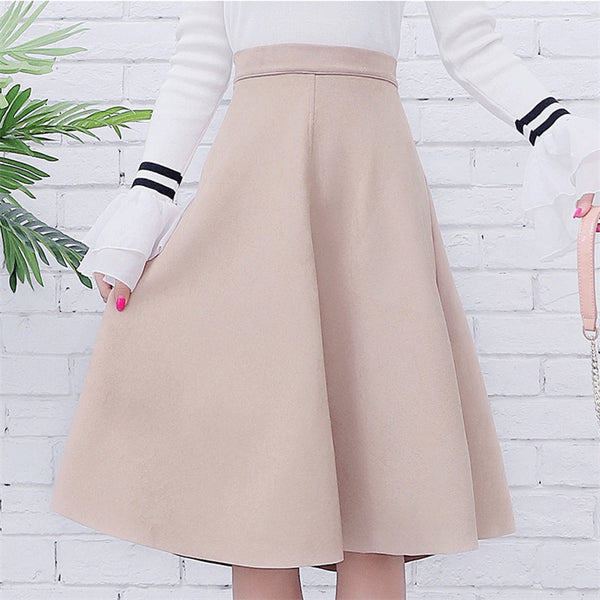 2020 Summer Vintage Style Pleated Ladies A Line Black Flare Skirt
