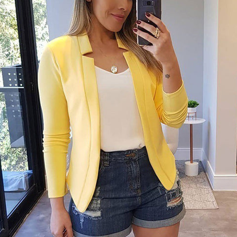 New Spring Casual Blazer for Women Long Sleeve Solid Color Small Suit Office Lady Blazer