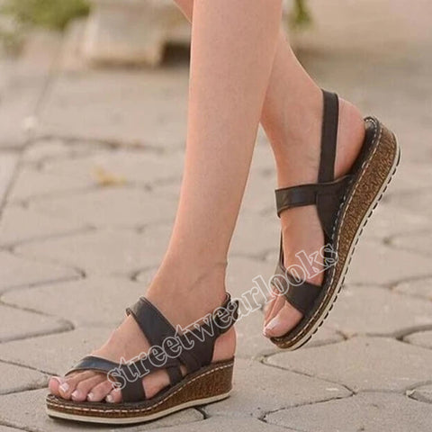 New One-word Buckle Sandals with Wedge HeelsH Women's Shoes