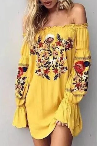 One-Shoulder Embroidery Ethnic Style Off-The-Shoulder Fluffy Sleeve Holiday Dress
