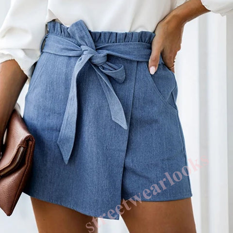 Paperbag Waist Pocket Patched Denim Shorts With Belt