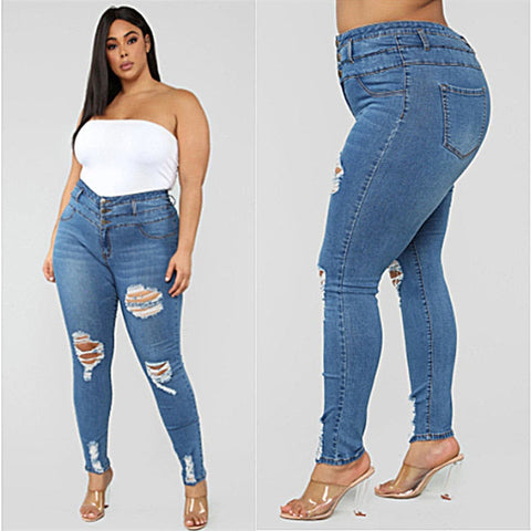 Plus size clothing XL-5XL women's ripped jeans high waist skinny denim jeans casual pencil Jeans