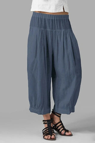 Plus Size Solid Wide Waistband Medium Waist Wide-Legged Crop-Length Pants