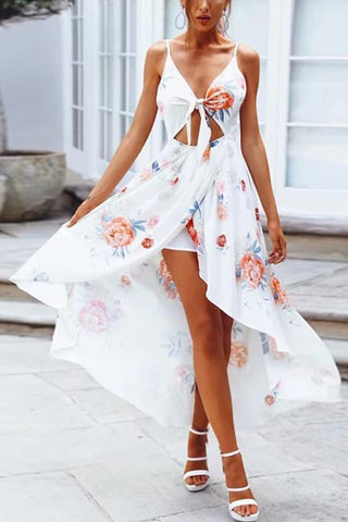 Printed Strap With Halter Vacation Dress