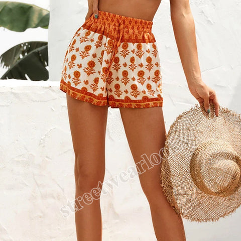 Retro Fashion Holiday Printing High Waist Elastic Casual Shorts