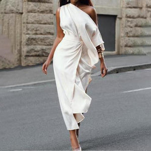 Fashion One-Shoulder Solid Color Dress