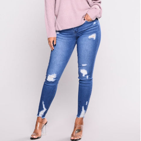 Scratched High Waist Ripped Jeans for Women With Holes In Elasticity And Small Feet Jeans Femme Pants ropa mujer Vaqueros Mujer