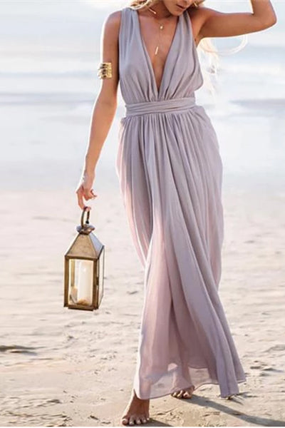 Sexy Deep V Collar Sleeveless Maxi Dresses