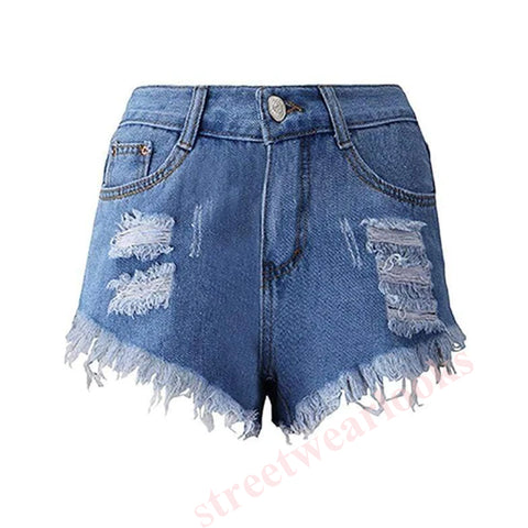 Shredded Irregular Tassel High Waist Denim Shorts