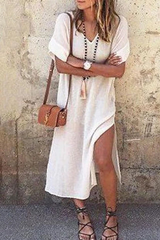 Solid Color Cotton And Linen V-Neck Hem Split Casual Dress