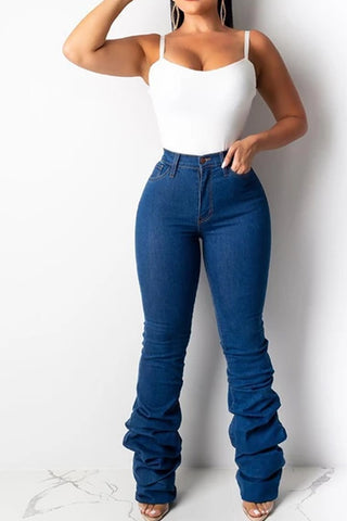 Solid High Waist Ruched Jeans