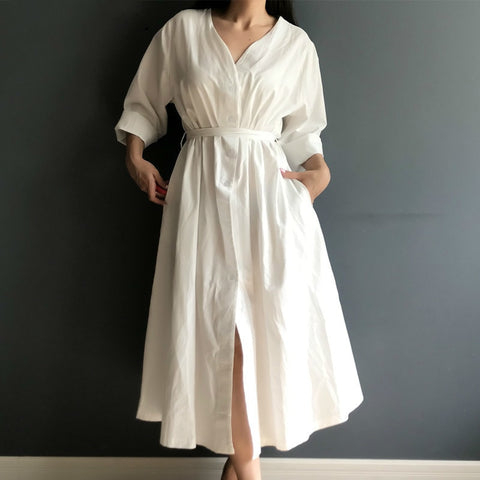 Spring Summer Cotton Linen  Long White Dresses V Neck Lace Up Bow Colorfaith Dresses