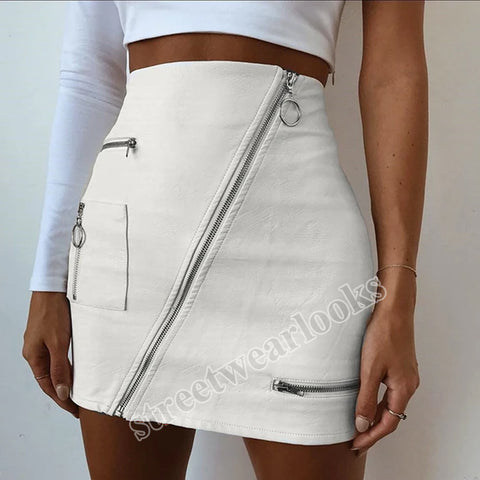 Streetwearlooks Leather A-Line Skirt with Zipper