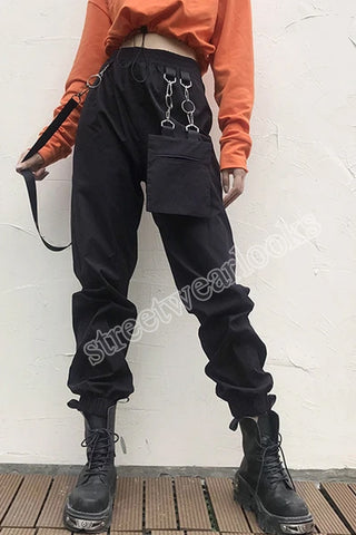 Streetwearlooks Ribbon Leisure Fashionable Street Trendy  Trousers