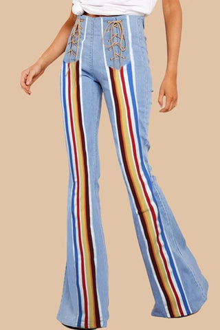 Striped Retro Bell-bottom Jeans