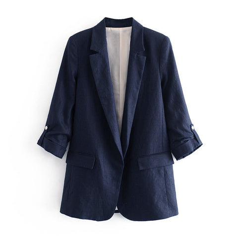 Women  Notched Collar Spring Women Blazer Jacket Autumn  Coat