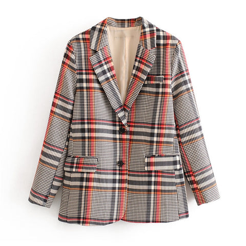 Stylish Single Breasted Plaid Women Blazer Pockets Jackets