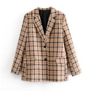 Stylish chic plaid women suit blazer checkered long sleeve notched collar pockets coats