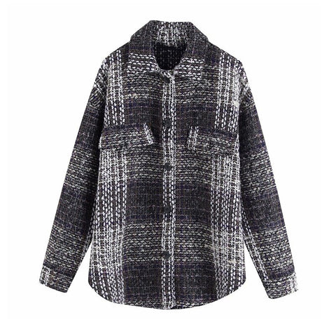 Stylish long sleeve tweed women  oversize jacket chic