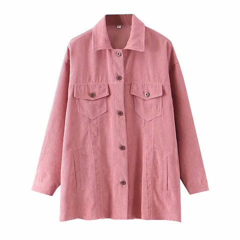 Stylish oversized corduroy women jacket outwear warm causal tops