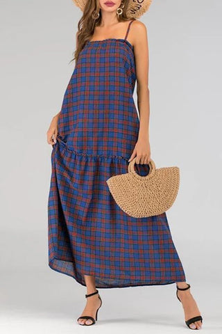 Stylish And Comfortable Loose Plaid Strap Dress