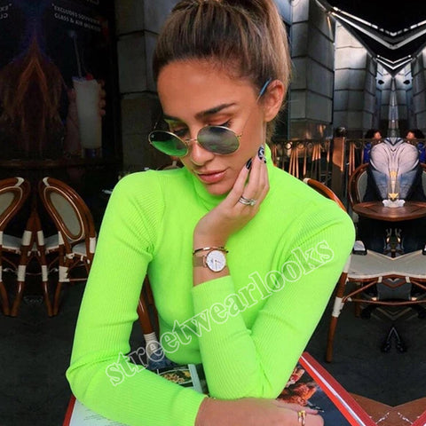 Turtleneck Neon Green Bodycon T Shirts High Street Style Women T-Shirts