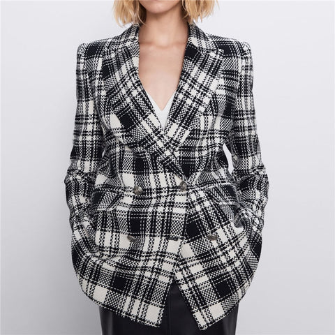 Vintage Fashion Double Breasted Office Ladies  Coat