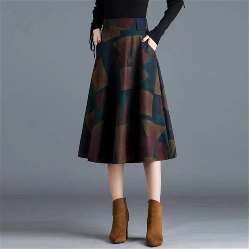 Midi Skits Women Elegant Autumn Winter Plaid Skirt Office Ladies Wool Prints Skits
