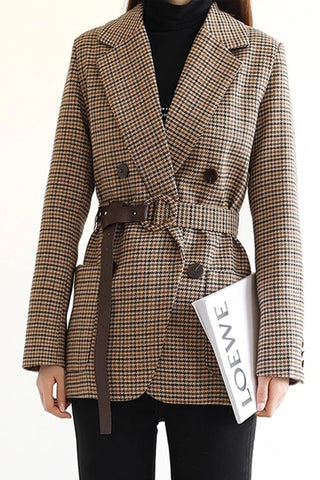 Vintage Houndstooth Women Blazer Sashes Double-breasted Plaid 2020