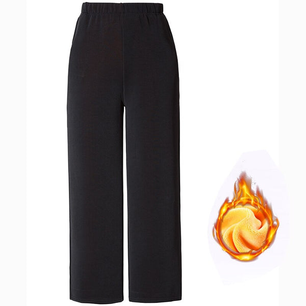 Winter Warm Long Wide Leg Pants Black Plus Size Pants 5XL Womens Hight Elastic Waist Office Ladies Trousers
