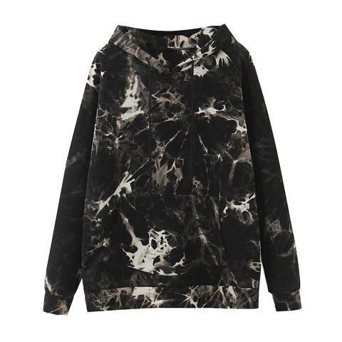 Tie Dye Print Sweatshirt Drawstring Long Sleeve Autumn Winter Women Clothes Streetwear Hoodie