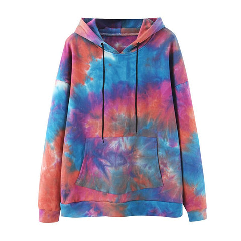 Tie Dye Print Sweatshirt Drawstring Long Sleeve Autumn Winter Women's Streetwear Hoodie Tops