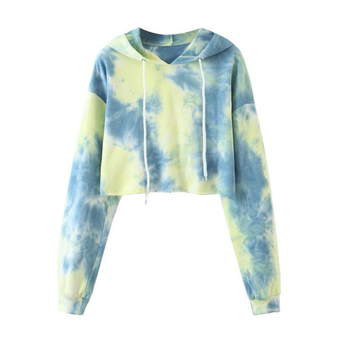Women Fashion Tie Dye Short Sweatshirt Drawstring Long Sleeve Autumn Winter Women Clothes Streetwear Hoodie Crop Pullovers