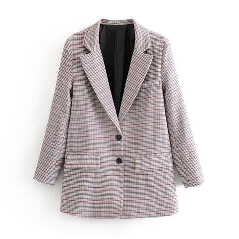 Women retro plaid double breasted suit jacket