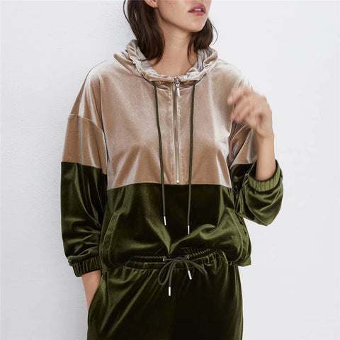 Women's velvet tracksuit Two Piece Set Patchwork Hoodies Winter Costume