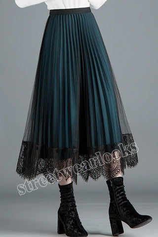 Women Vintage Long Lace Tulle Skirts New Autumn Hollow Out Black Spring Pleated Skirt