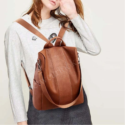 Women Female PU Leather Anti-theft Backpack Classic Solid Color Zipper L Bag