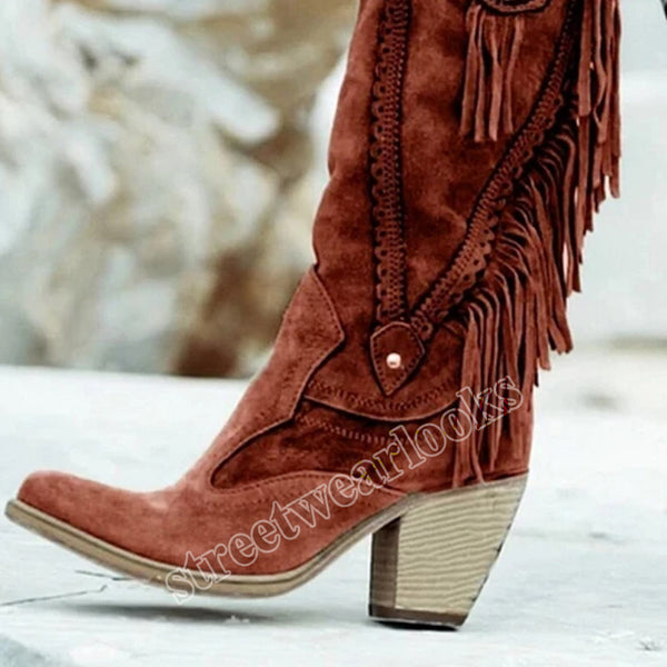 Women's Ethnic Mid Tube High Heels Stylish Warm Fur Boots Low Heel Suede Boots