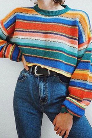 Women's Fashion Contrast Color Irregular Stripe Sweater