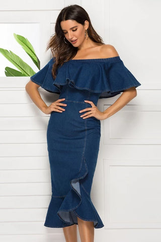 Women sexy Off Shoulder   Ruffles Denim Dress