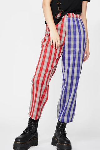 Womens Fashion Colour Block Plaid Printed Pants