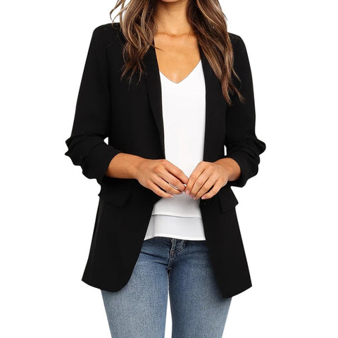 #Z15 Ladies Blazer Long Sleeve Blaser Women Suit jacket Female Feminine Blazer Femme Black Blazer