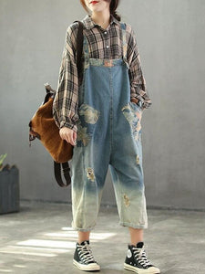 Patchwork Nine Pants Pockets Denim Jumpsuit