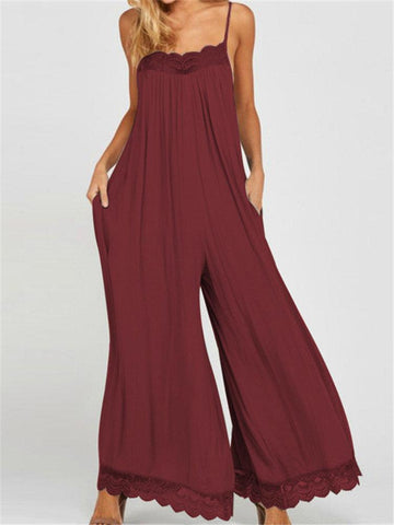 Lace Wide Leg Spaghetti Straps Backless Jumpsuit