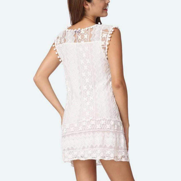 Women Casual Dresses Floral Lace Mini Dress