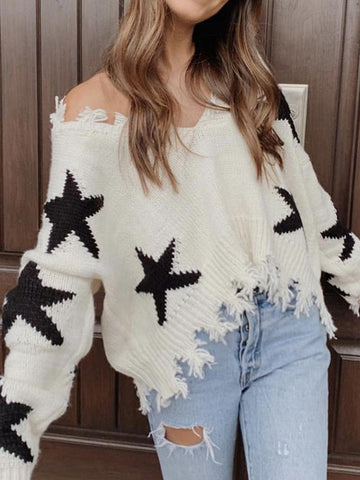 Women Fashion Star Printed Long Sleeve Sweater